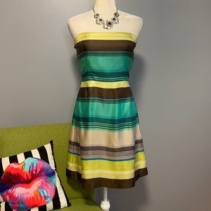 Banana Republic Silk Striped Strapless Dress